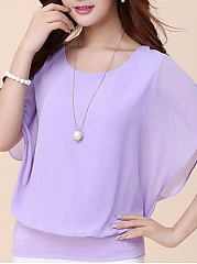 Round Neck  Plain  Batwing Sleeve T-Shirt