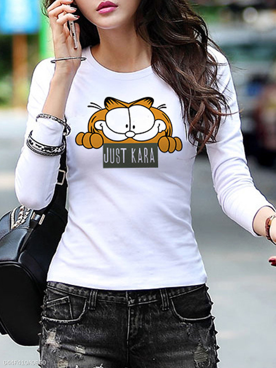 Autumn Spring  Polyester  Women  Round Neck  Animal Printed Long Sleeve T-Shirts