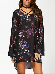 Asymmetric Neck  Printed Shift Dress
