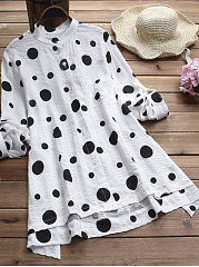 Autumn Spring  Women  Single Breasted  Polka Dot  Long Sleeve Blouses