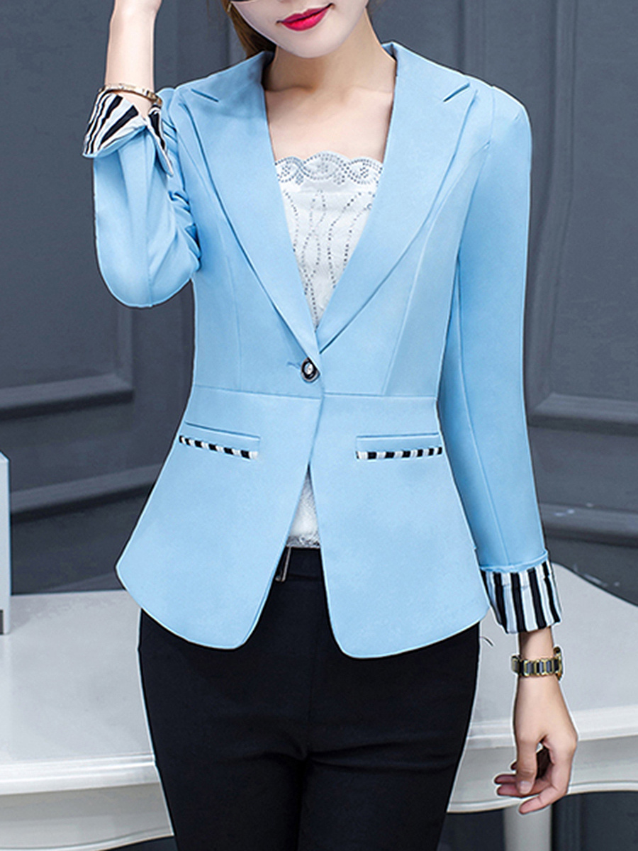 Notch Lapel Single Button Striped Cuff Blazer