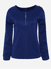 Plain Zips Exquisite Round Neck Long-Sleeve-T-Shirt