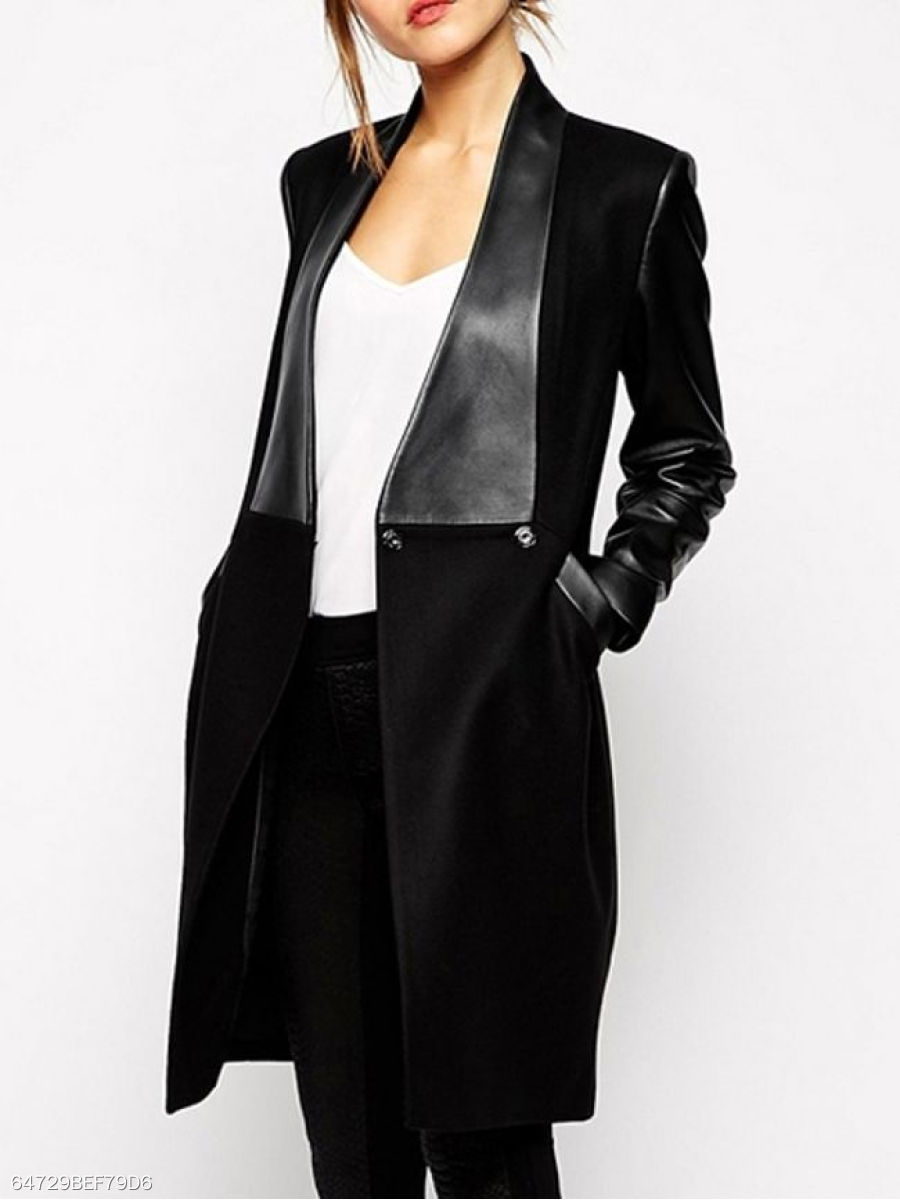 Patchwork  Decorative Button  Plain  Long Sleeve Coats