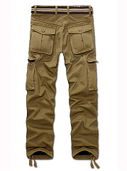Flap Pocket Zips  Plain  Straight Men's Casual Pants