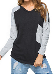 Autumn Spring  Polyester  Women  V-Neck  Color Block Long Sleeve T-Shirts