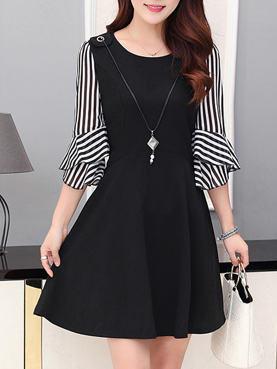 Round Neck Striped Bell Sleeve Necklace Skater Dress