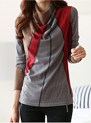 Cowl Neck  Color Block Blouse