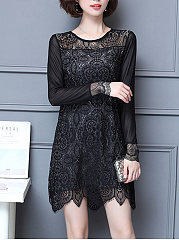 Round Neck  See-Through  Lace  Lace Shift Dress