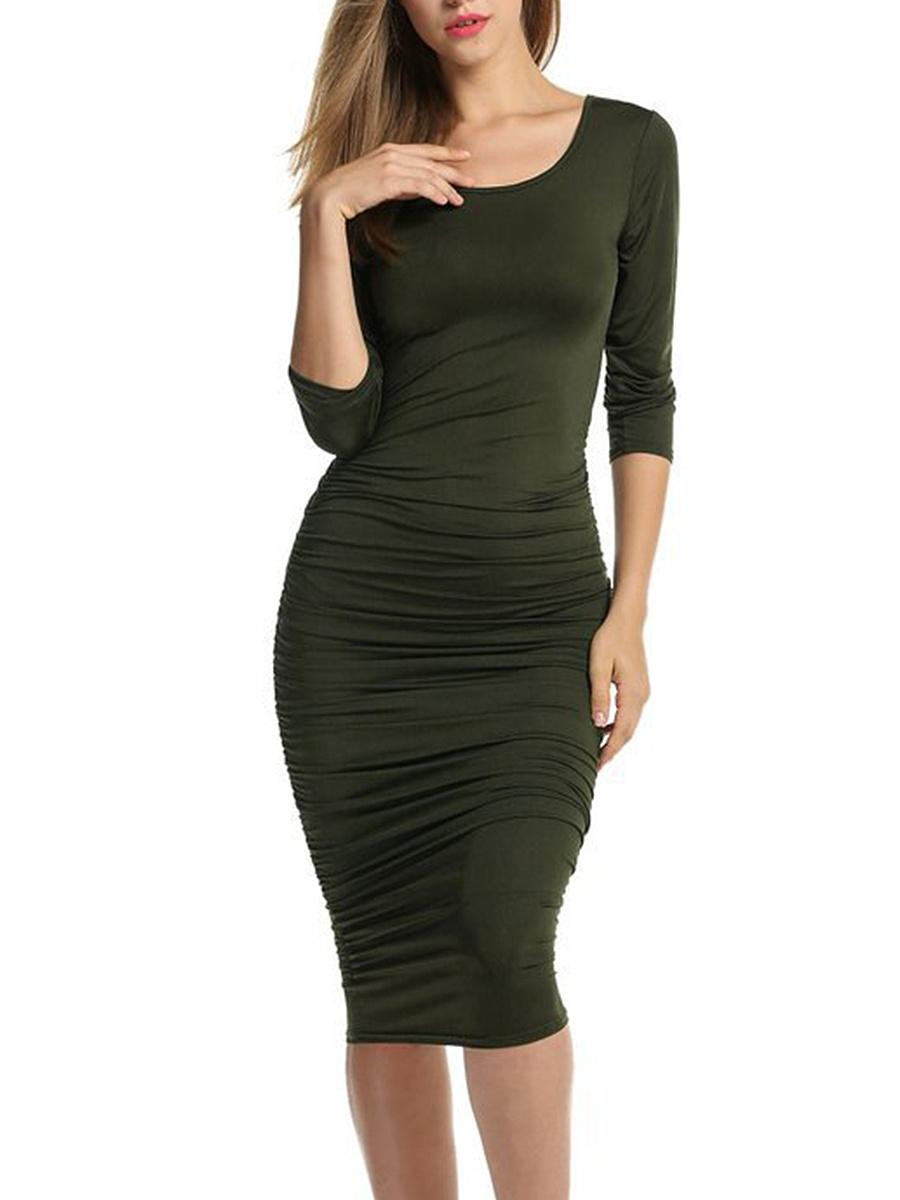 Round Neck Ruched Plain Midi Bodycon Dress. Round ...