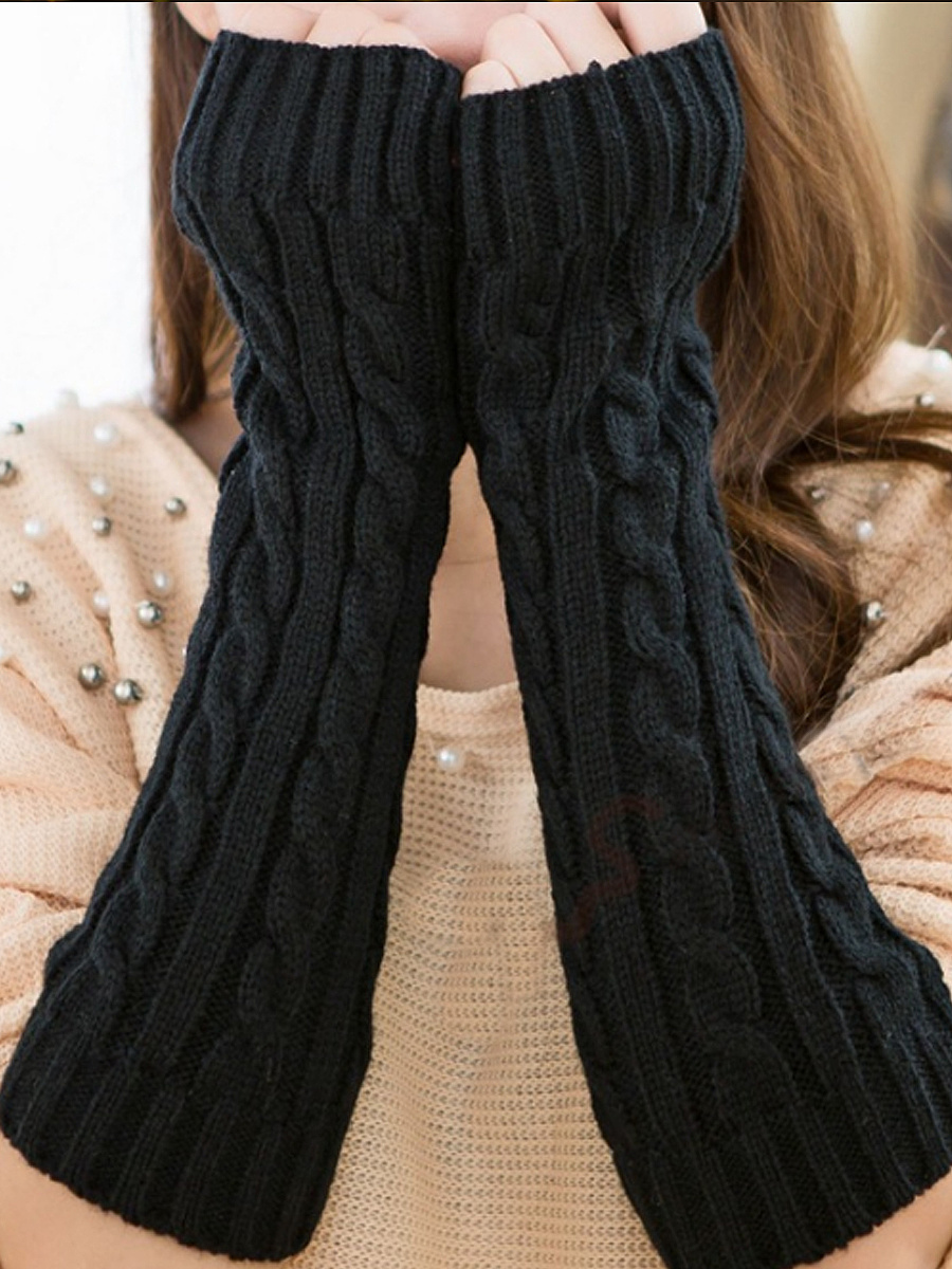 Long Knit Thick Arm Warmers