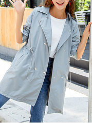 Fold-Over Collar  Drawstring  Plain  Long Sleeve Trench Coats
