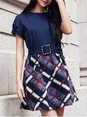 Round Neck  Patchwork Ruffled Hem  Belt  Color Block Embroidery Plaid Skater Dress