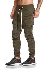 Elastic Waist Flap Pocket  Slim-Leg Men's Casual Pants