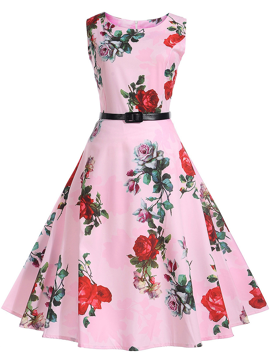 Delicate Round Neck Belt Skater Dress In Floral Printed