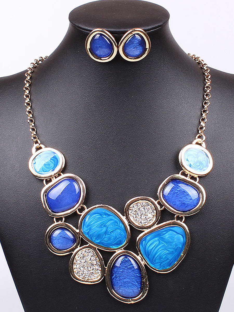 Blue Rock Shape Earrings And Necklace Set
