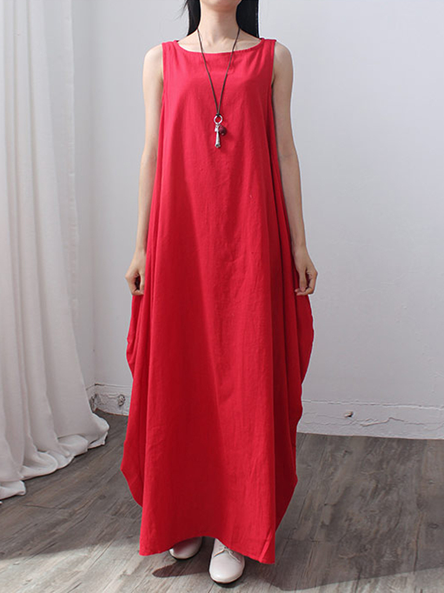 Oversized Round Neck Solid Maxi Dress