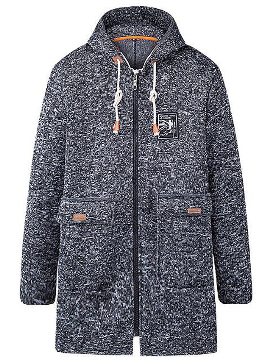 Hooded  Drawstring Flap Pocket Men Coat