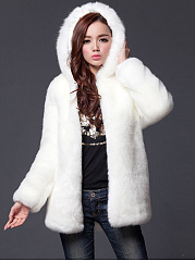 Hooded Faux Fur Solid Pocket Coat