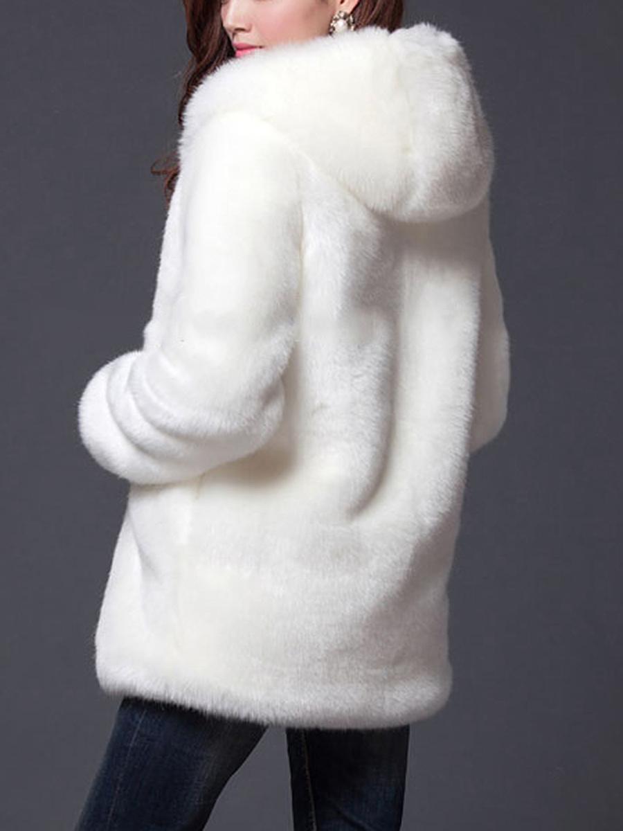 Hooded Faux Fur Solid Pocket Coat