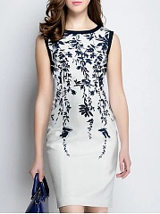 Boat Neck  Abstract Print Bodycon Dress
