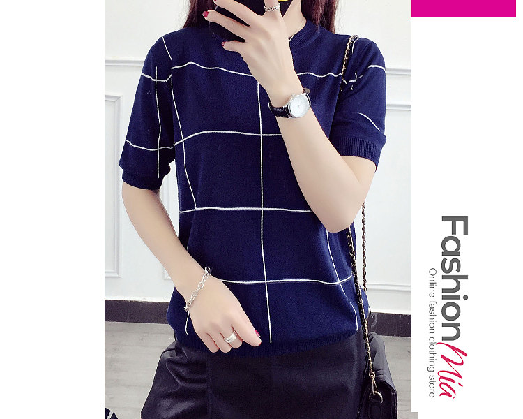 Round Neck  Plaid  Short Sleeve Sweaters Pullover