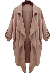 Lapel  Decorative Button  Plain  Roll-Up Sleeve  Long Sleeve Trench Coats