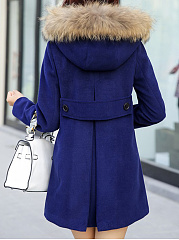 Hooded  Double Breasted Patch Pocket  Plain Coat
