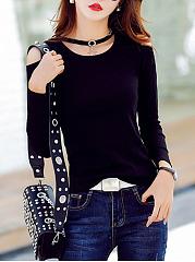 Open-Shoulder-Decorative-Hardware-Plain-Long-Sleeve-T-Shirts