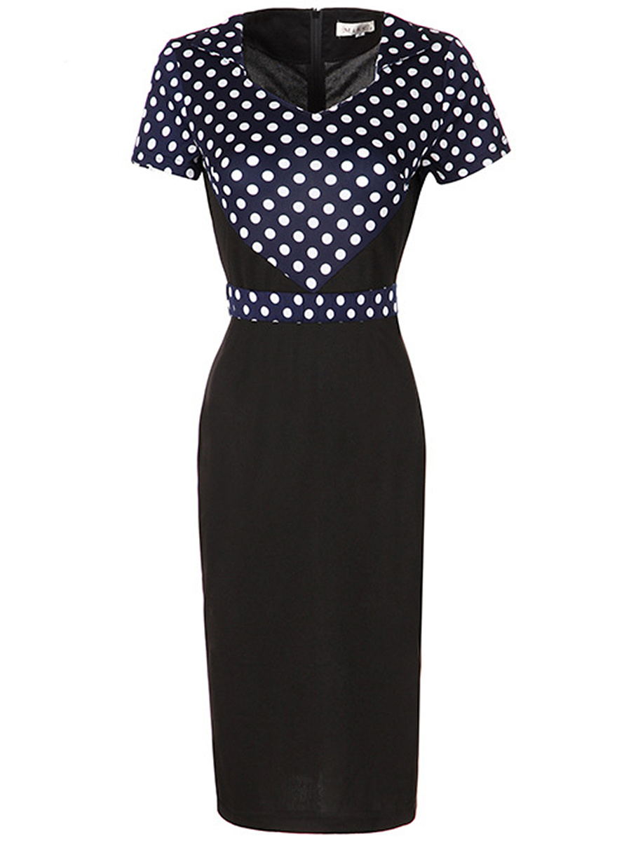 Sweet Heart Slit Polka Dot Bodycon Dress