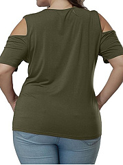 Round Neck  Plain  Half Sleeve Strapless Plus Size T-Shirts