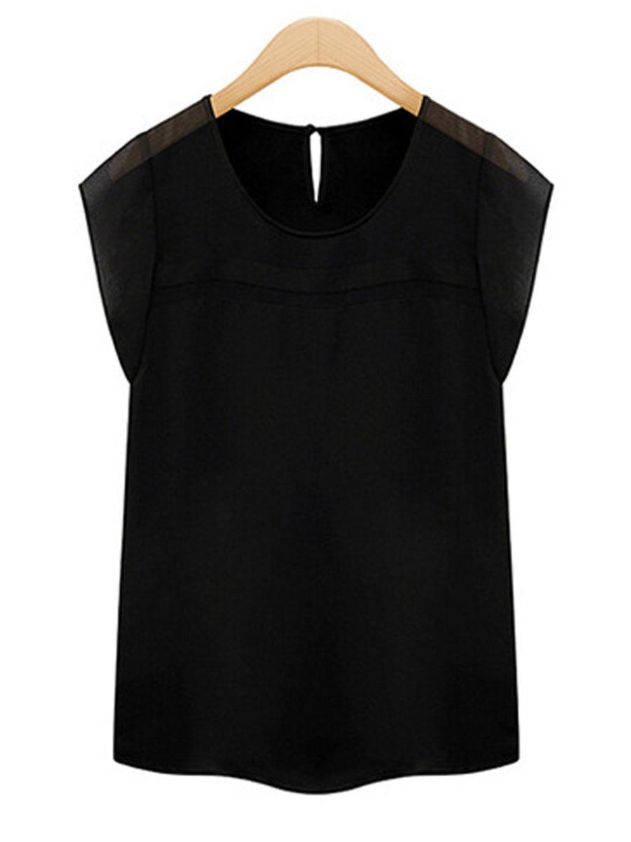 Spring Summer  Polyester  Women  Round Neck  Plain  Short Sleeve Blouses