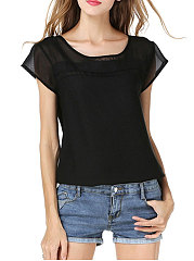 Spring Summer  Polyester  Women  Round Neck  Plain  Short Sleeve Blouses