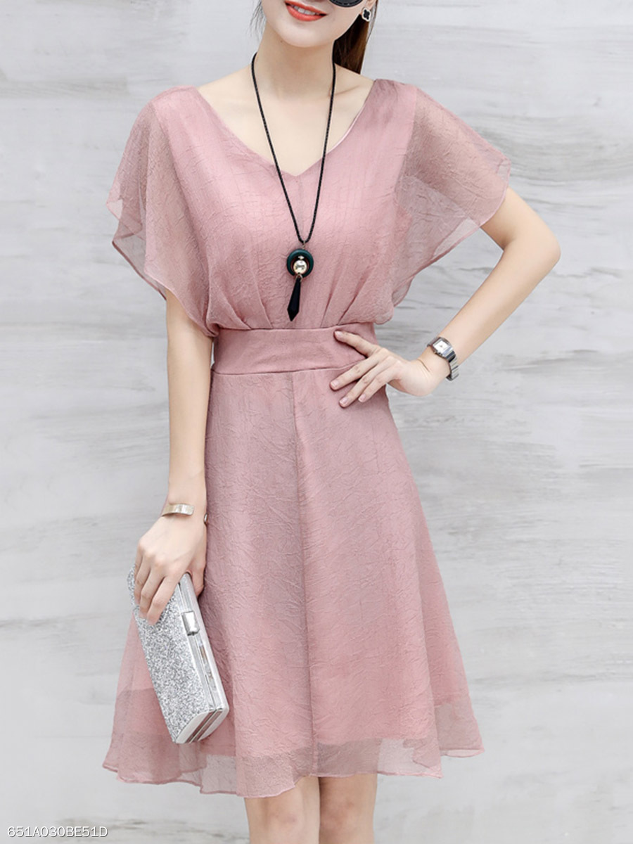 V-Neck  Plain Chiffon Skater Dress