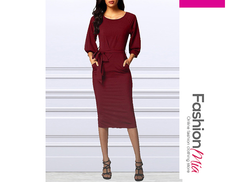Round Neck  Belt  Plain Bodycon Dress