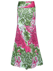Floral Printed  Flared Maxi Skirt