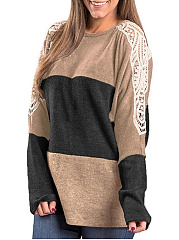 Round Neck Color Block Hollow Out Sweater