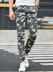 Camouflage Drawstring Pocket Slim-Leg Mens Casual Pants