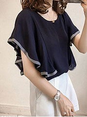 Spring Summer  Cotton  Women  Round Neck  Plain  Batwing Sleeve  Short Sleeve Blouses