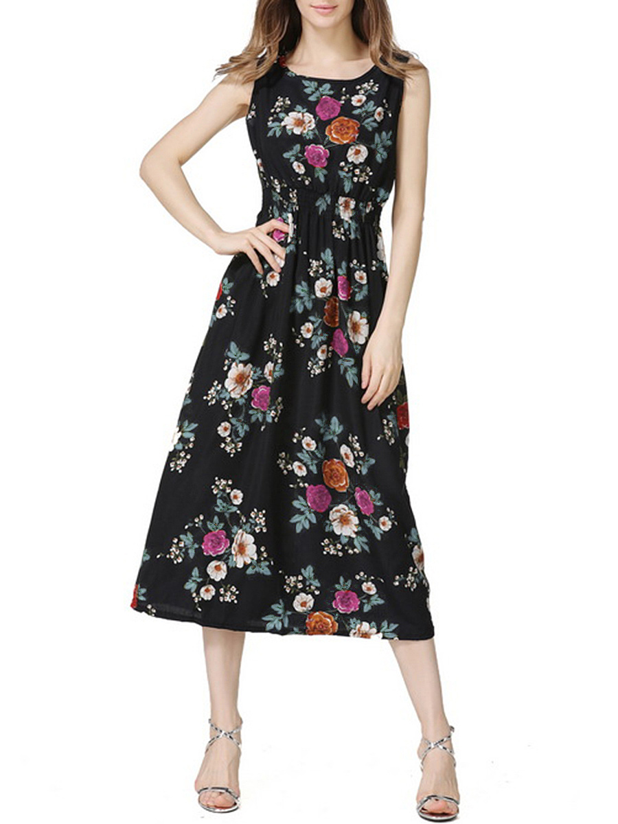 Elastic Waist Round Neck Floral Printed Flared Maxi Dress