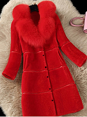 Faux Fur Collar  Single Breasted  Plain  Long Sleeve Coats