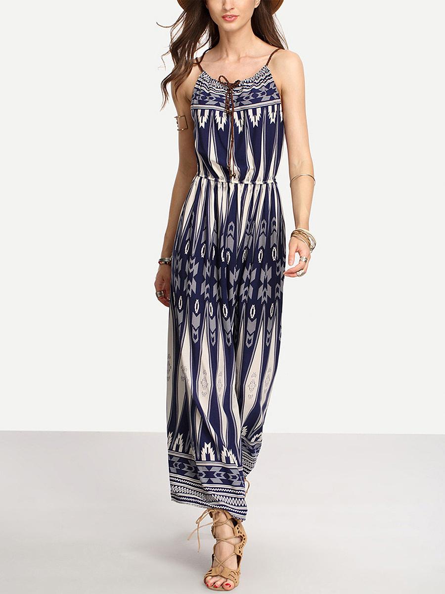 Spaghetti Strap  Printed Maxi Dress