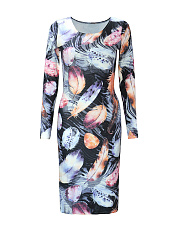 Vintage Style Feather Printed Long Sleeve Bodycon Dress