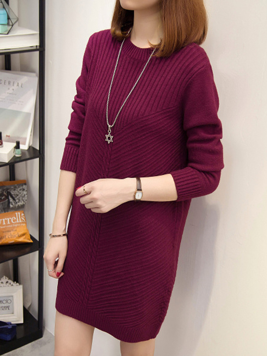 Solid Round Neck Loose Knitted Dress
