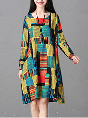 Round Neck  Printed  CottonLinen Shift Dress