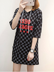 Hooded  Letters Printed Shift Dress
