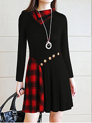 Asymmetric Neck  Patchwork  Diagonal Buttons  Plaid Shift Dress