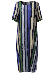 Round Neck  Flap Pocket  Striped Plus Size Midi & Maxi Dress