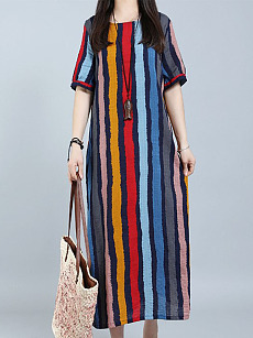 Round Neck  Flap Pocket  Striped Plus Size Midi  Maxi Dress