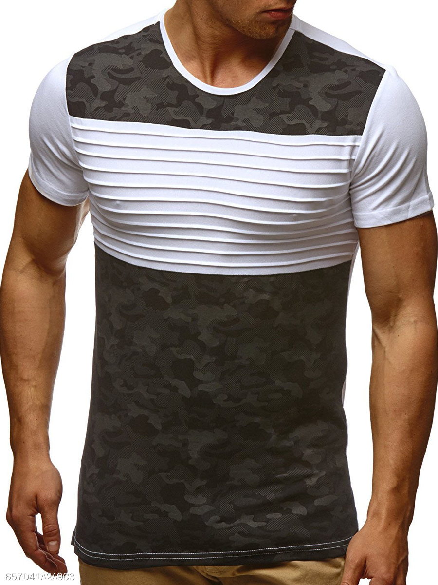 Ruched  Camouflage  Short Sleeve Short Sleeves T-Shirts