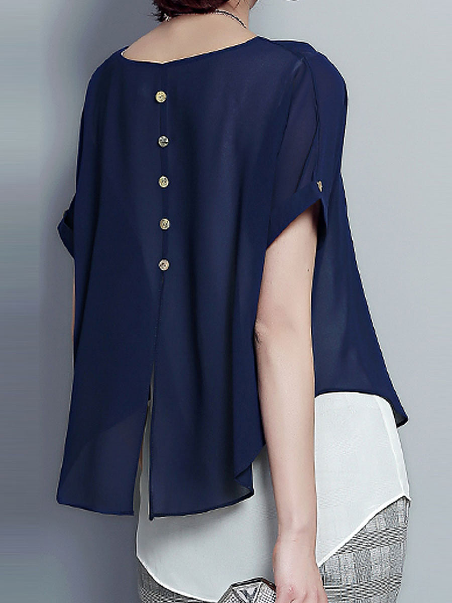 Spring Summer  Polyester  Women  Round Neck  Asymmetric Hem  Fake Two-Piece  Plain Blouses